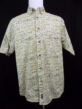 Woolrich Men Short Sleeve Button Up Down 100% Cotton Green Shirt Large L - $12.13