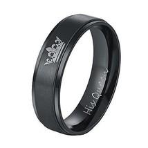 6mm Titanium stainless steel His Queen Black Crown Ring Promise Wedding ... - $268,62 MXN