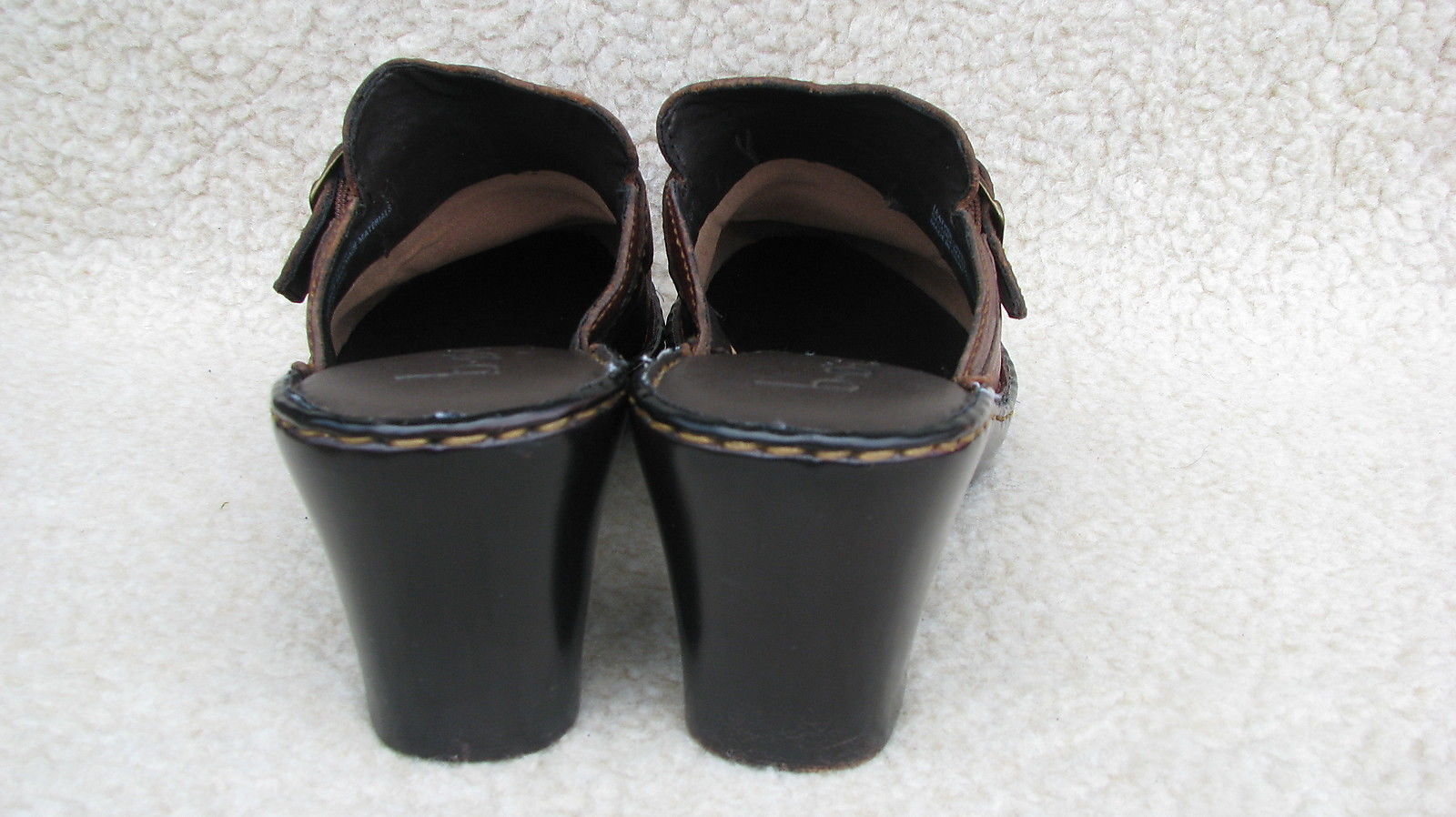 Born Concept Rich Brown Leather SHOES Woman's 9 / 40.5 MULES Buckle Accent HEELS
