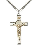 Men's Bliss Two-Tone GF/SS St. Benedict Crucifix Pendant-24 Inch Necklace  - $70.50