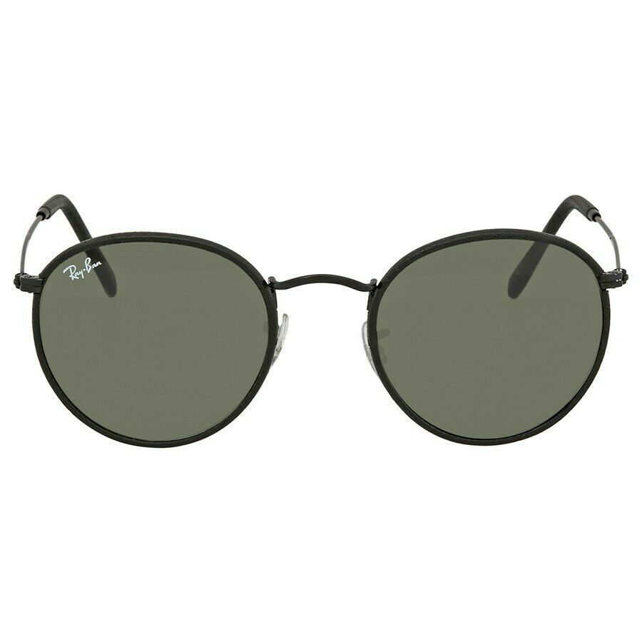 343825b35a New in a Box Ray Ban Round Leather RB 3475Q 029 14 Matte Gunmetal w