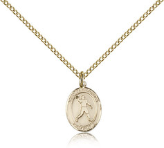 Women's Bliss Small Gold Filled St. Christopher Medal Pendant-18 Inch Necklace  - $65.00