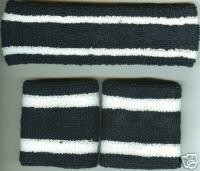 Headband/Wristbands Set  Navy/White