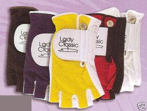 LadyClassic 1/2 -Finger Golf Glove Mesh Large LH  White Bonanza