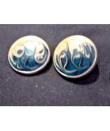 Vintage Enamel Swirls Turquoise Blue Clip On Earrings - $3.00