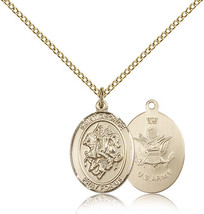 Women's Bliss Gold Filled St. George / Army Military Medal Pendant  - $103.50