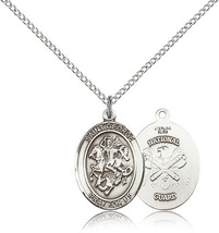 Bliss Sterling Silver St. George / Nat'L Guard Military Medal Pendant Fo... - $52.50