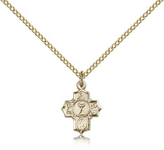 Women's Bliss Small Gold Filled Communion 5-Way Cross Pendant-18 Inch Necklace  - $67.00
