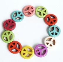 Anti-war Symbol Beaded Elastic Bracelet - $4.99