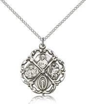 Women's Bliss Sterling Silver 5-Way Cross Pendant-18 Inch Necklace 5446SS/18SS - $60.00