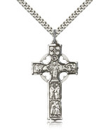 Men's Bliss Sterling Silver Celtic Cross Pendant-24 Inch Necklace 5459SS... - $54.50