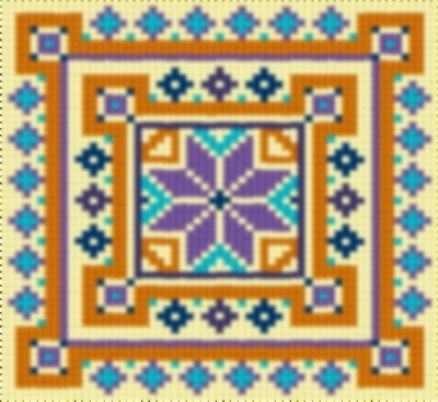 Latch Hook Rug Pattern Chart: COUNTRY TILE 4 - EMAIL2u