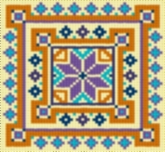 Latch Hook Rug Pattern Chart: Country Tile 4 - EMAIL2u - $5.50