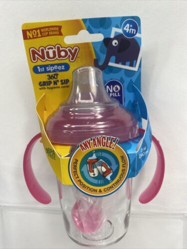 Primary image for Nuby Pink No Spill 360 Weighted Straw Grip N' Sip Tritan Cup Hygienic Cover 8oz