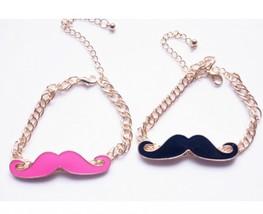 Vintage Moustache Chain Alloying Bracelet(Color:Black /Rose Red ) - $5.99