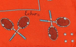 Echo Red Silk Vintage 1980 Scarf Tennis Players and Rackets - $9.99