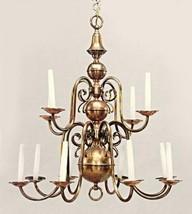12-Arm Antique Dutch Baroque Style Copper Brass Chandelier Fixture Lamp ... - $1,517.78