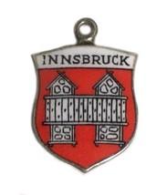 Vintage  Silver Charm Innsbruck Austria Austrian Enamel Travel Flag Shield - $24.23