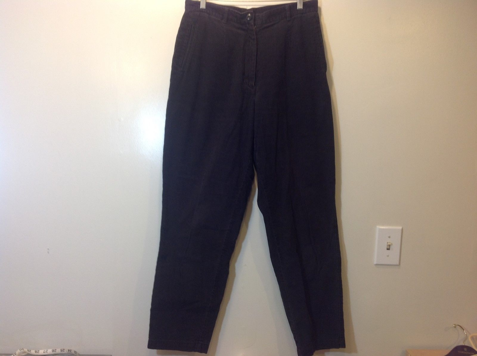 L.L. Bean 100% Cotton Black Corduroy Pants Sz 12