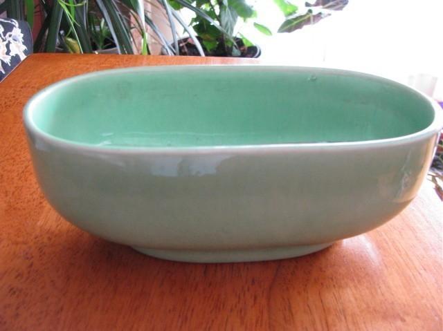 Vintage Green Turq Haeger Pottery Oval Bowl Planter 3829 USA