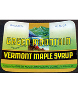 Green Mountain Vermont Maple Syrup Label, 1940's  - $0.99