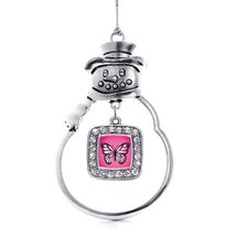 Inspired Silver Pink Butterfly Classic Snowman Holiday Christmas Tree Ornament - €12,80 EUR