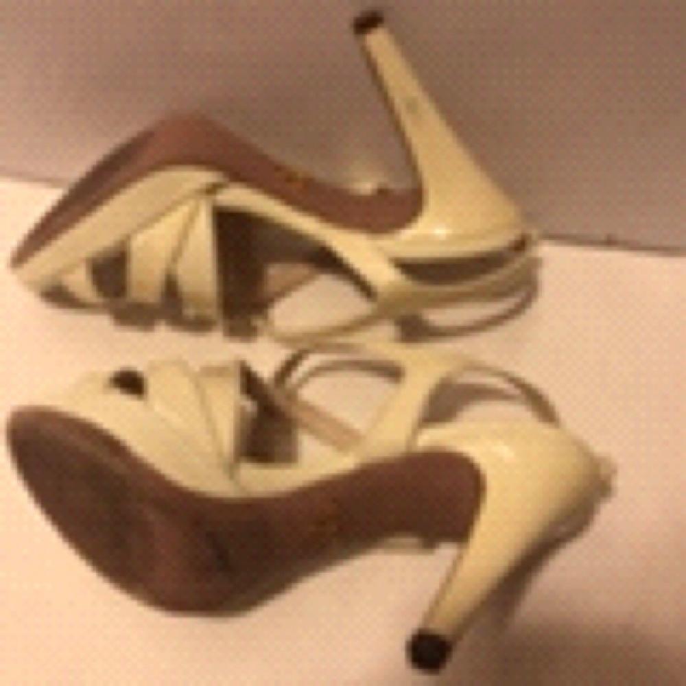 Prada Off White Heel Open Toe Size 36