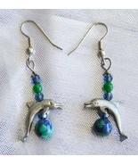 Judy Strobel Elegant Pewter Dolphin Azurite Malachite & Jade Earrings - $19.75