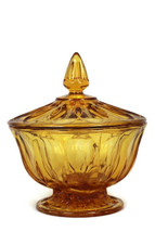 "Anchor Hocking Fairfield 2 Piece Amber Candy Compote Dish w/ Lid 6"" Wide - $29.69"