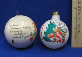 2 Ornaments 1980 Hallmark Satin Happy Christmas & 1993 Shoebox Cartoon S... - $9.89