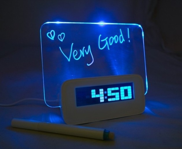LED Alarm Clock with Message Light Board