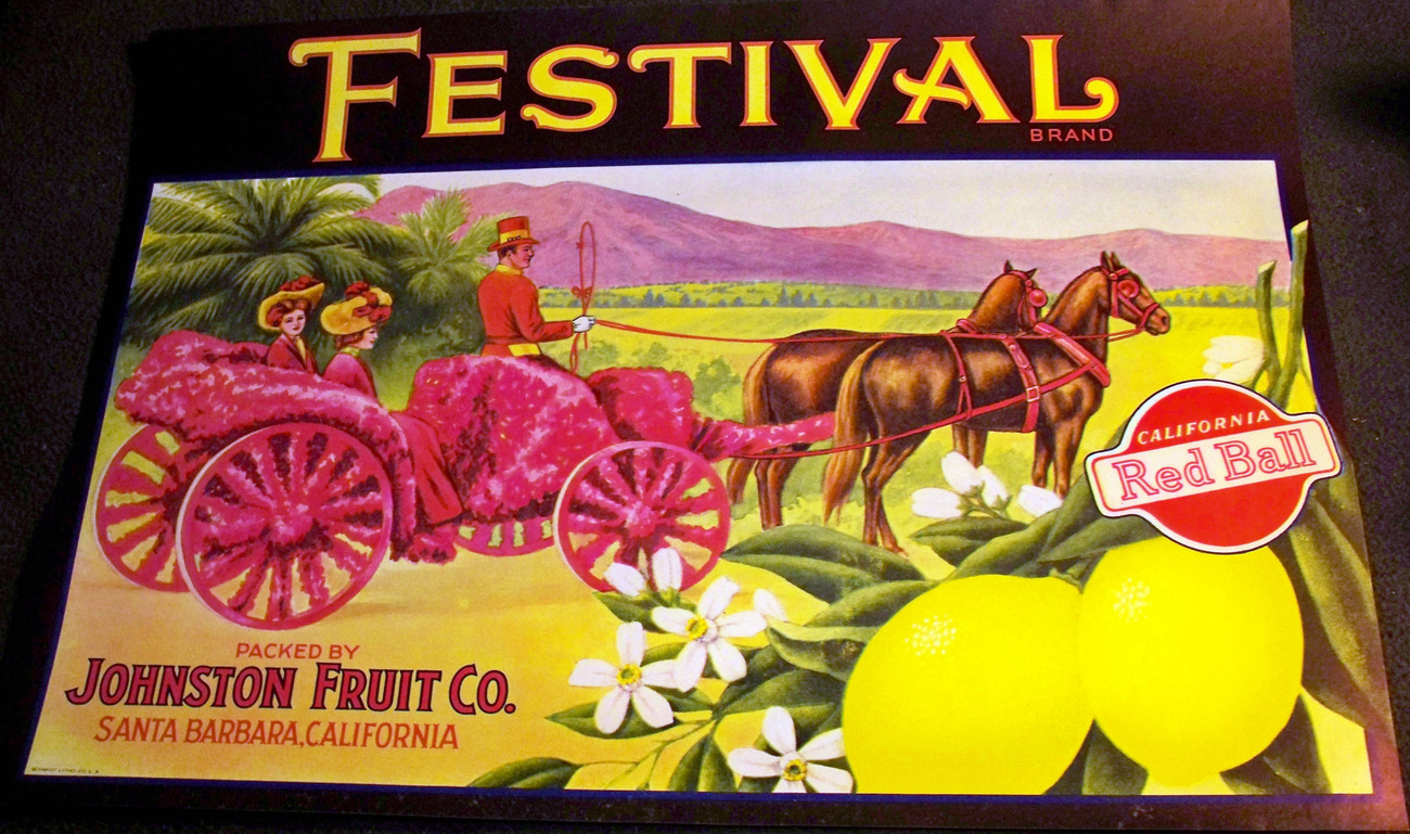 Horse Drawn Buggy! Festival Crate Label, 1920's