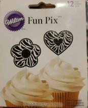 "Wilton ""Black & White Flowers & Hearts"" Fun Pix - Cupcake Toppers Picks ... - $4.00"