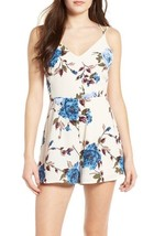 Lush Large Floral Flower Print Spring Romper Criss Cross Open Back NWT - $40.87 CAD