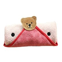Set of 2 Cute Catoon Bear Cotton Baby Washcloths Soft Portable Facecloths,ROSY