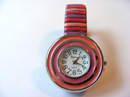 Geneva Pink, Rose And Lavender Striped Stretch Link Watch With Striped Bezel - $22.76