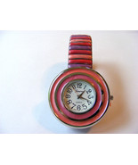 GENEVA PINK, ROSE AND LAVENDER STRIPED STRETCH LINK WATCH WITH STRIPED B... - $22.76