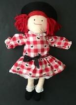 Vtg Madeleine Plush Fabric Doll Eden Toys Red Checker Scottie Dog Dress ... - $12.86