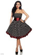 PLUS SZ 18 ROCKABILLY RETRO BLACK WHITE POLKA DOTS RED RUFFLED STRAPLESS... - $32.90