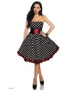 PLUS SZ 18 ROCKABILLY RETRO BLACK WHITE POLKA DOTS RED RUFFLED STRAPLESS DRESS - $32.90