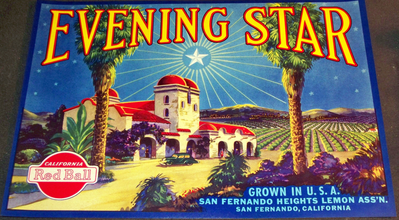 Exotic! Evening Star Crate Label, 1930's