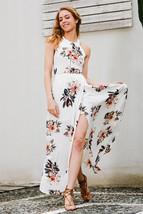2017 Print Halter Chiffon Long Dress Women White Split Beach Maxi Dresses - $41.99