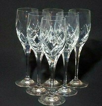 6 (Six) MIKASA OLYMPUS Swirl Cut Lead Crystal Wine Glasses DISCONTINUED - $210.99