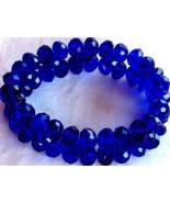 Cobalt Glass Crystal Jewelry Bracelet Beaded Strand Dark Blue Stretch - $14.99