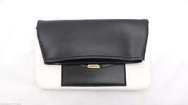 Vintage Clutch Funnel Neck Purse Black & Cream Superior Coach Advertising - $17.74