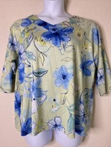 Jason Maxwell Womens Plus Size 1X Green Floral Pattern Blouse 3/4 Sleeve - $15.84