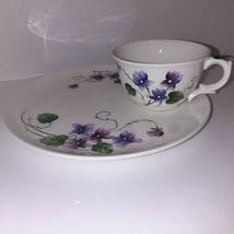 Lefton Sweet Violets Snack Tray Plate & Tea Cup Purple Violets Vintage - $14.85