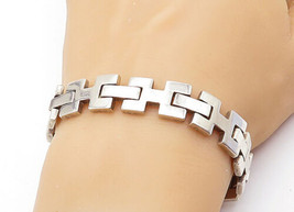 MEXICO 925 Silver - Vintage Shiny Smooth Hinge Link Chain Bracelet - B7402 - $154.37