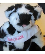 "VERMONT Plush Holstein COW Teddy BEAR jointed black & white print 15"" w/... - $29.99"