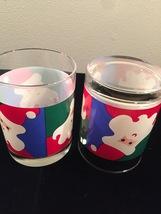 Vintage 70s Graphic Santa Christmas cocktail lowball glassware image 3